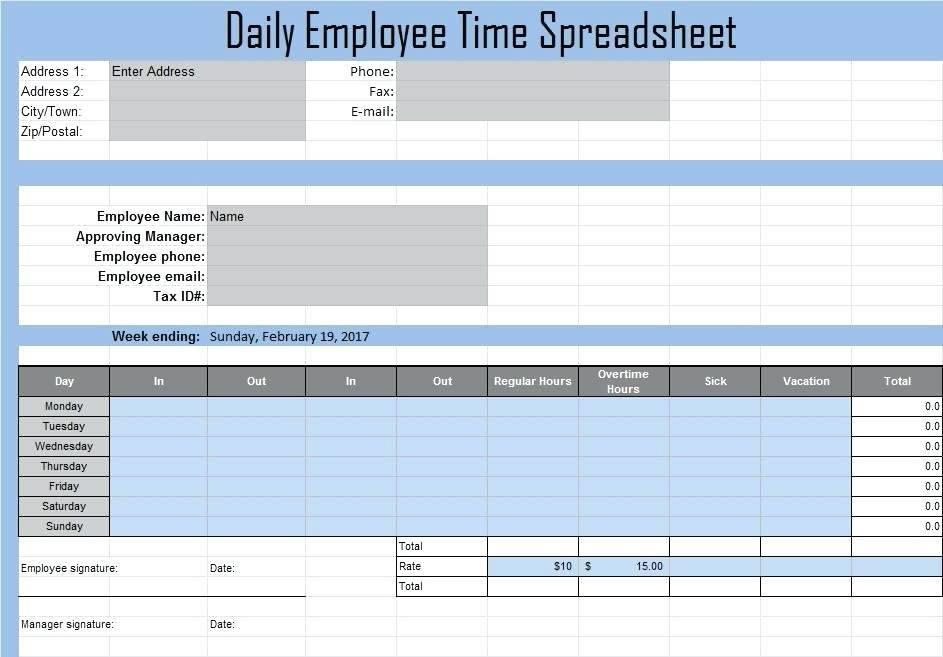 Time Management Log Sheet Template