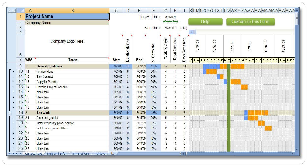 Timeline Planner Excel Template