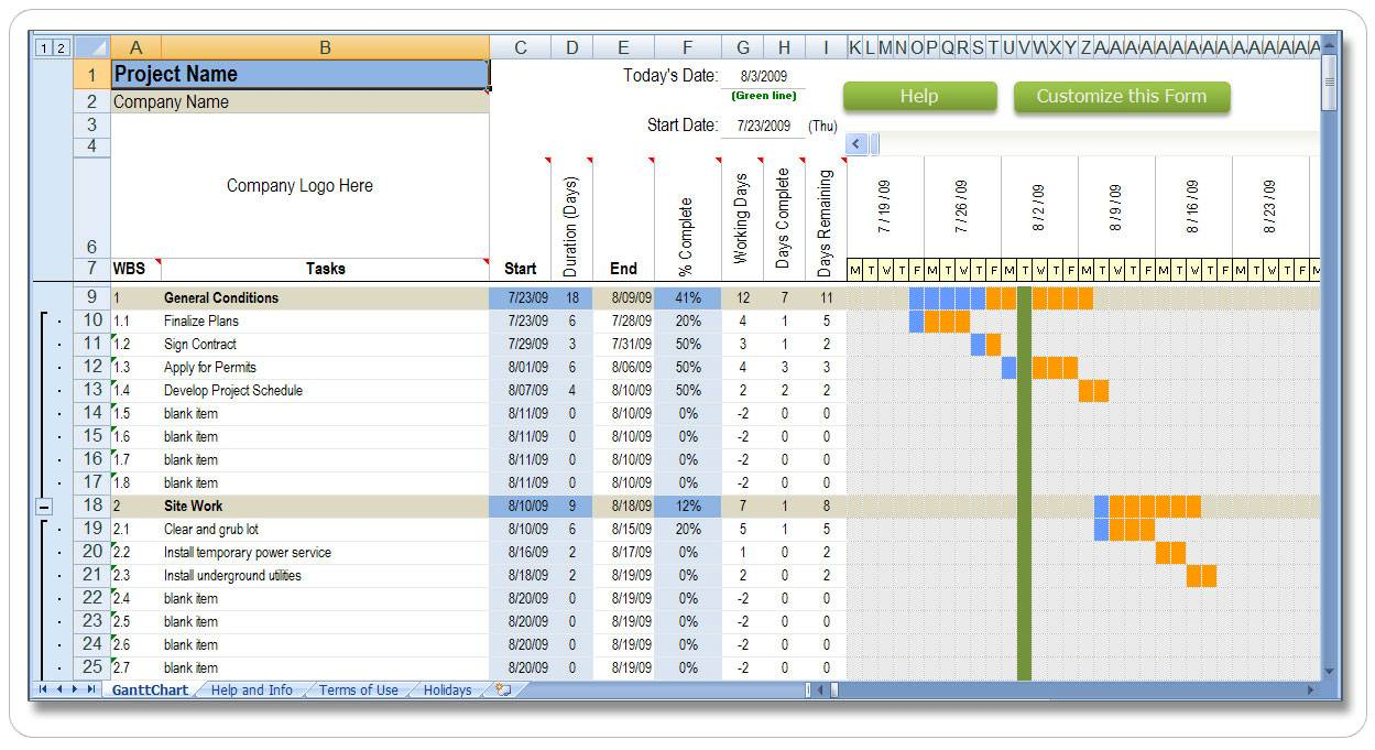 Timeline Schedule Template Excel