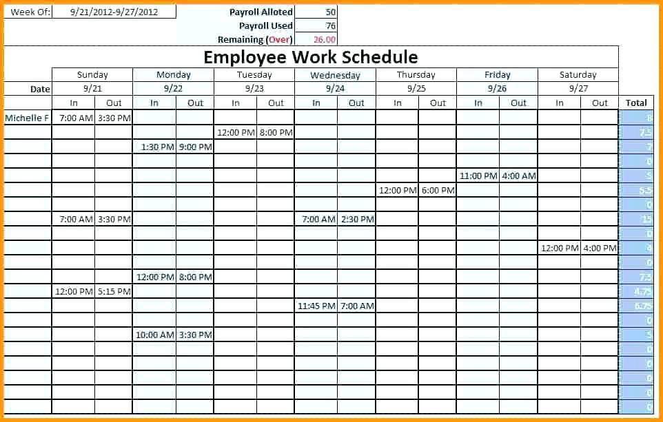 Timetable Template Excel