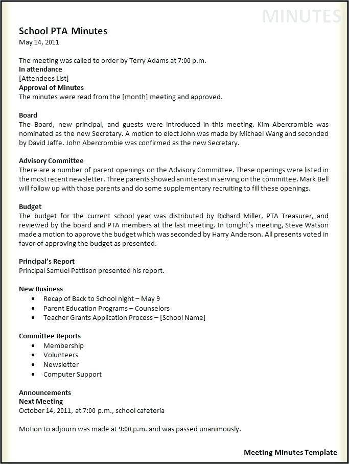 Toastmasters Meeting Minutes Sample