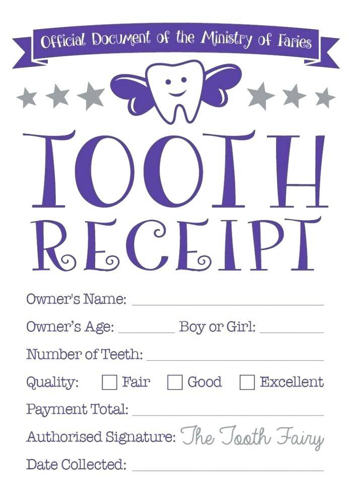 Tooth Fairy Receipt Template Editable