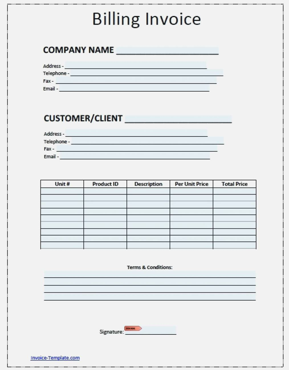 Towing Company Invoice Template