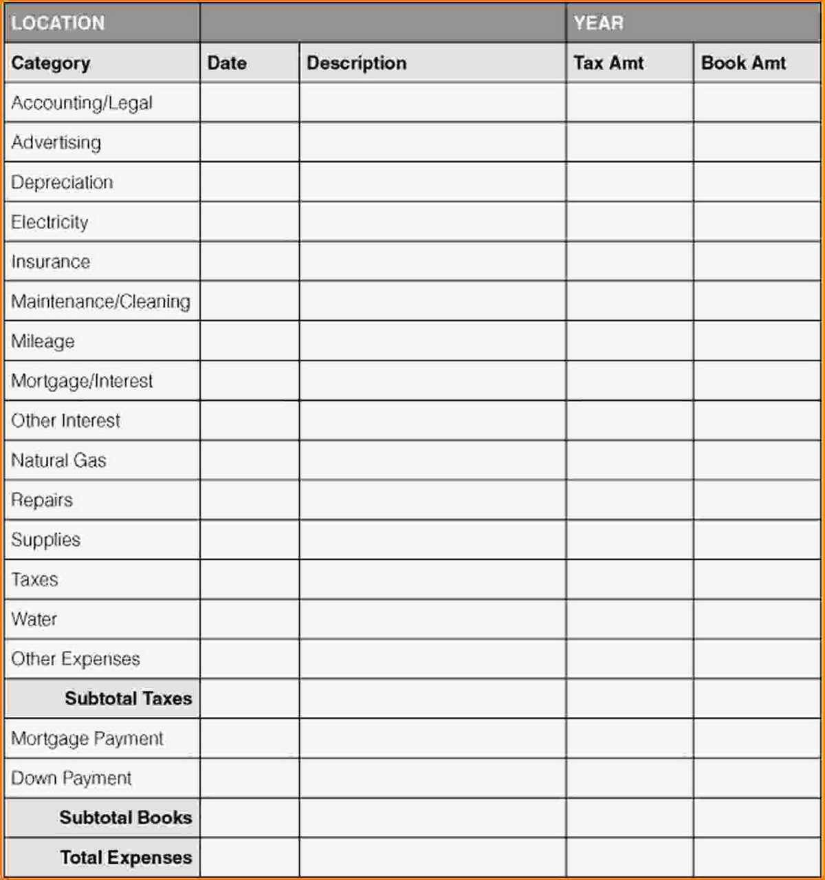 Tracking Travel Expenses Template