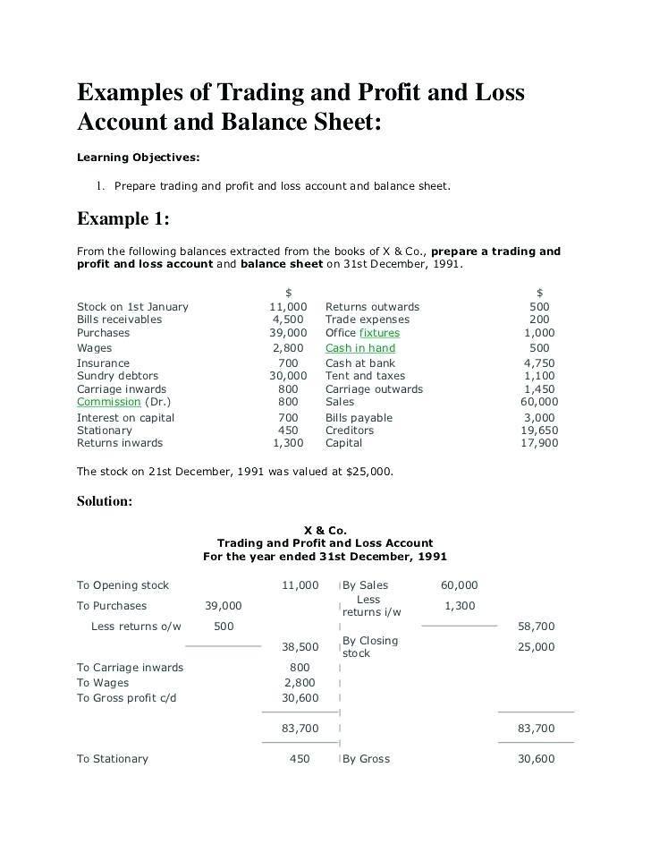 Trading Profit And Loss And Balance Sheet Template