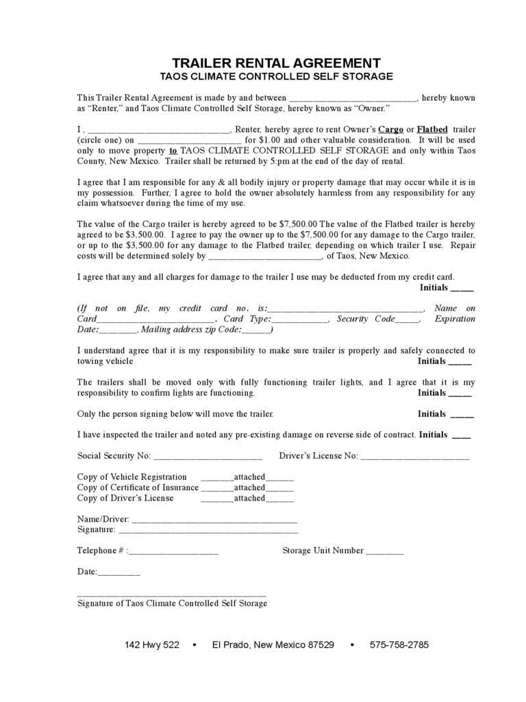 Trailer Rental Agreement Template Free