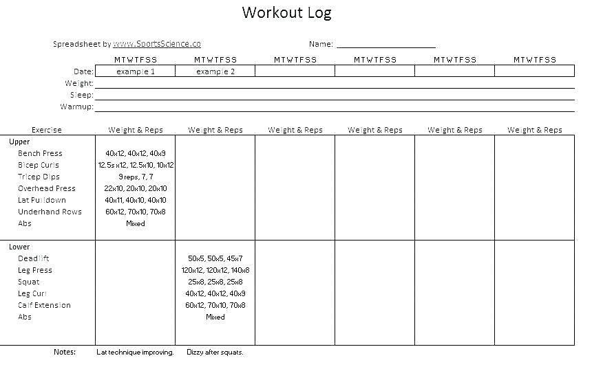 Training Log Book Format