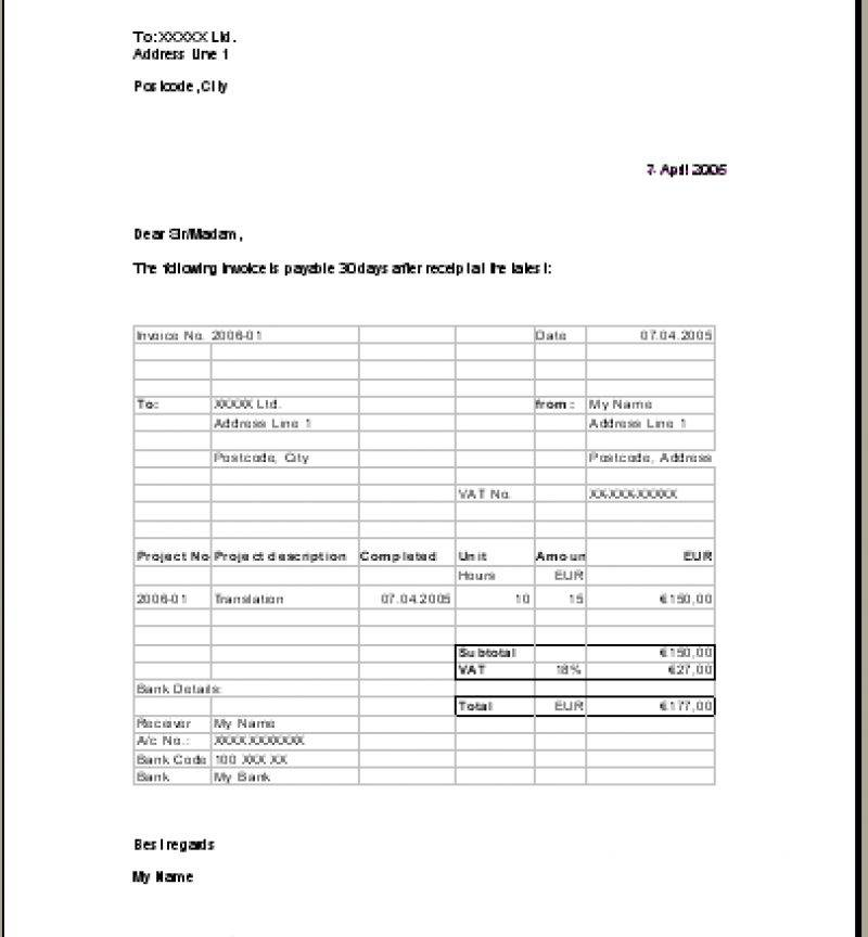 Translation Invoice Example