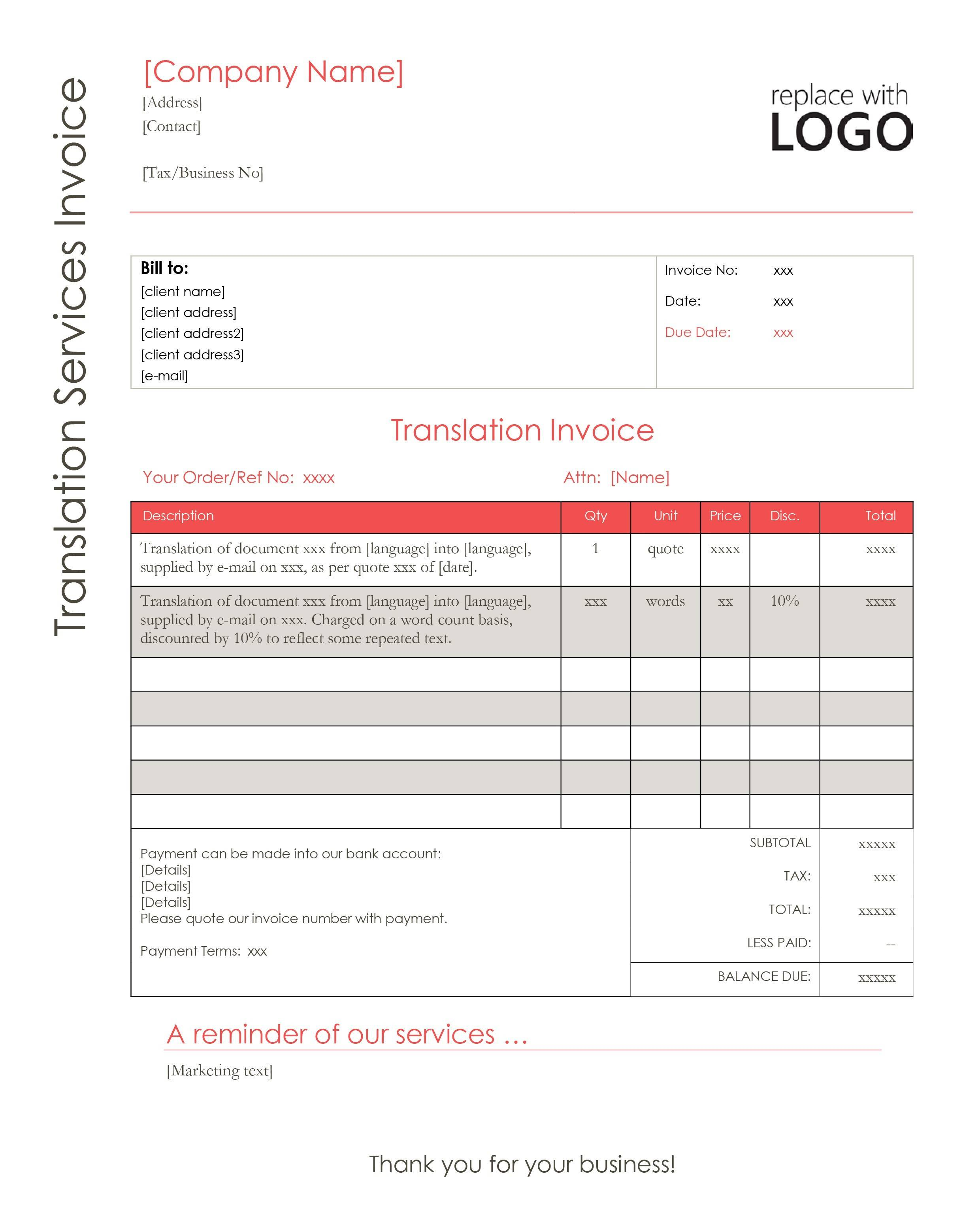 Translation Invoice Template Word