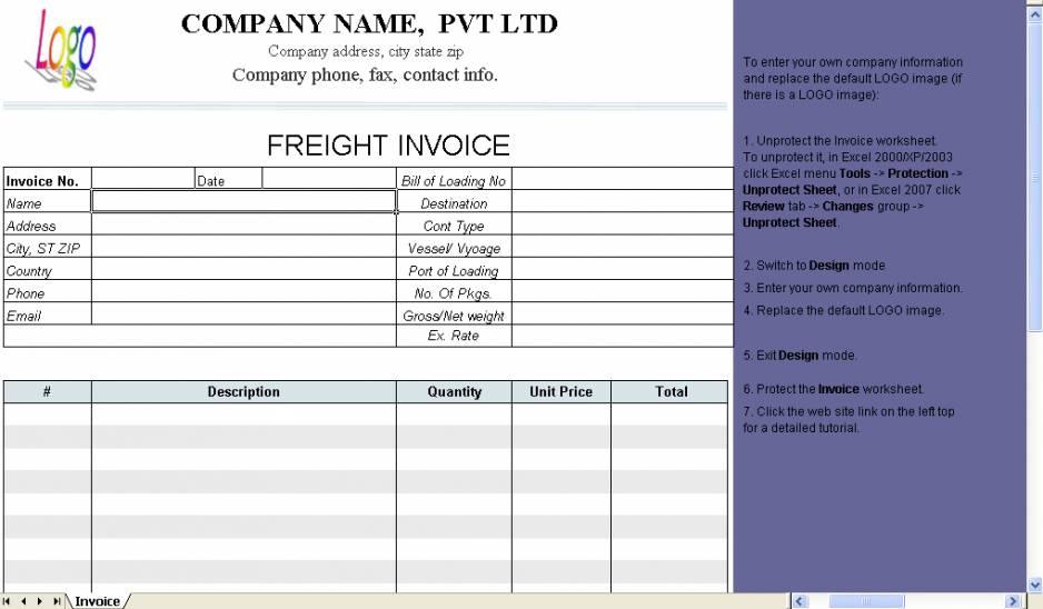 Transport Invoice Template