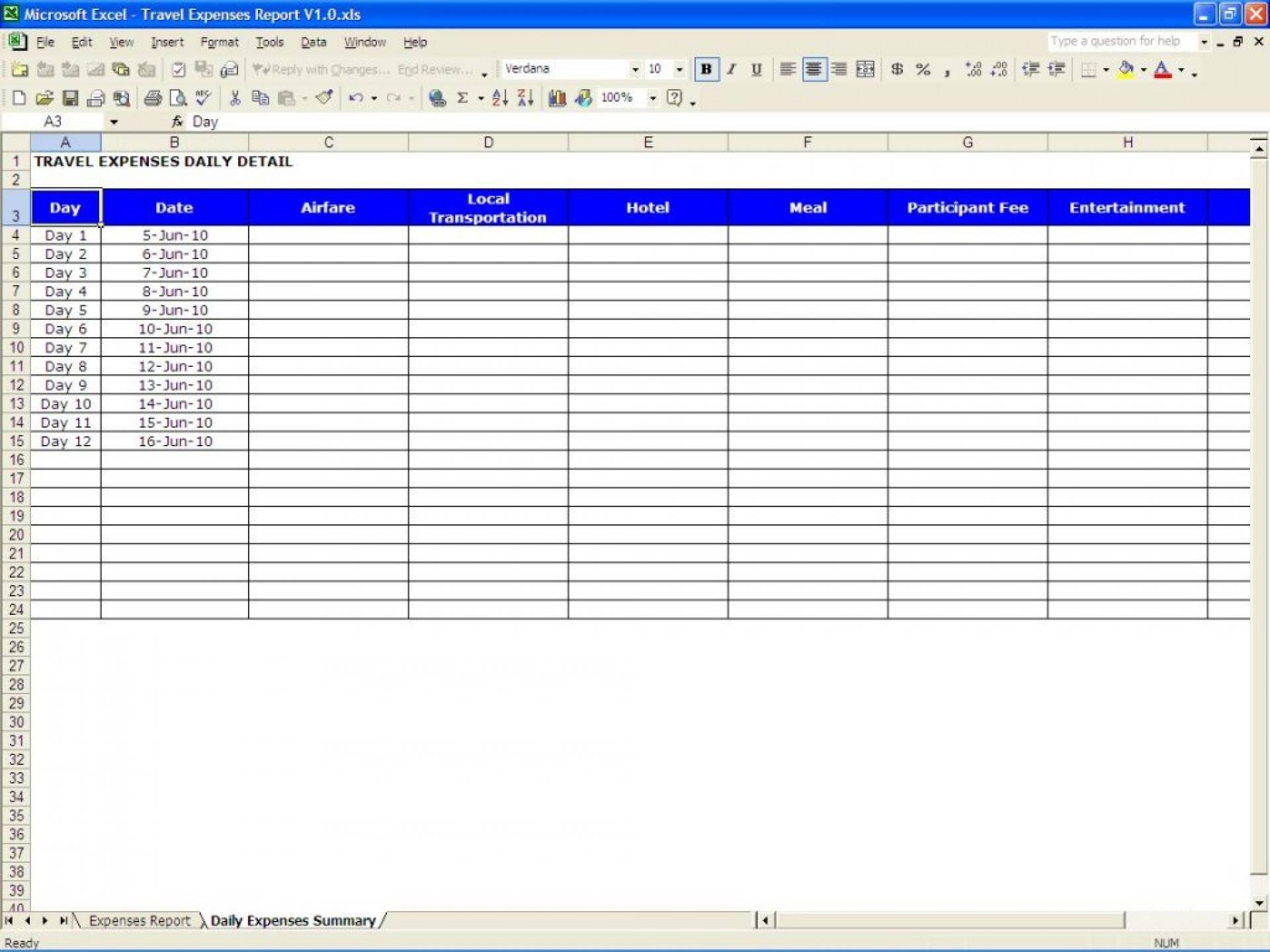 Travel Expenses Template Excel