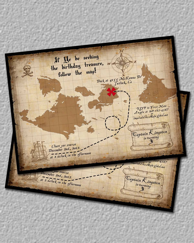 Treasure Map Birthday Invitations Template