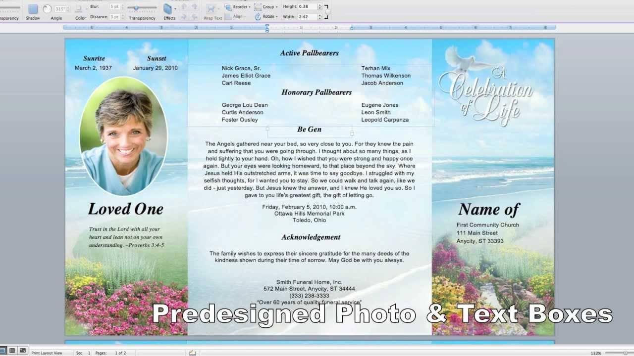 Tri Fold Funeral Brochure Template Free