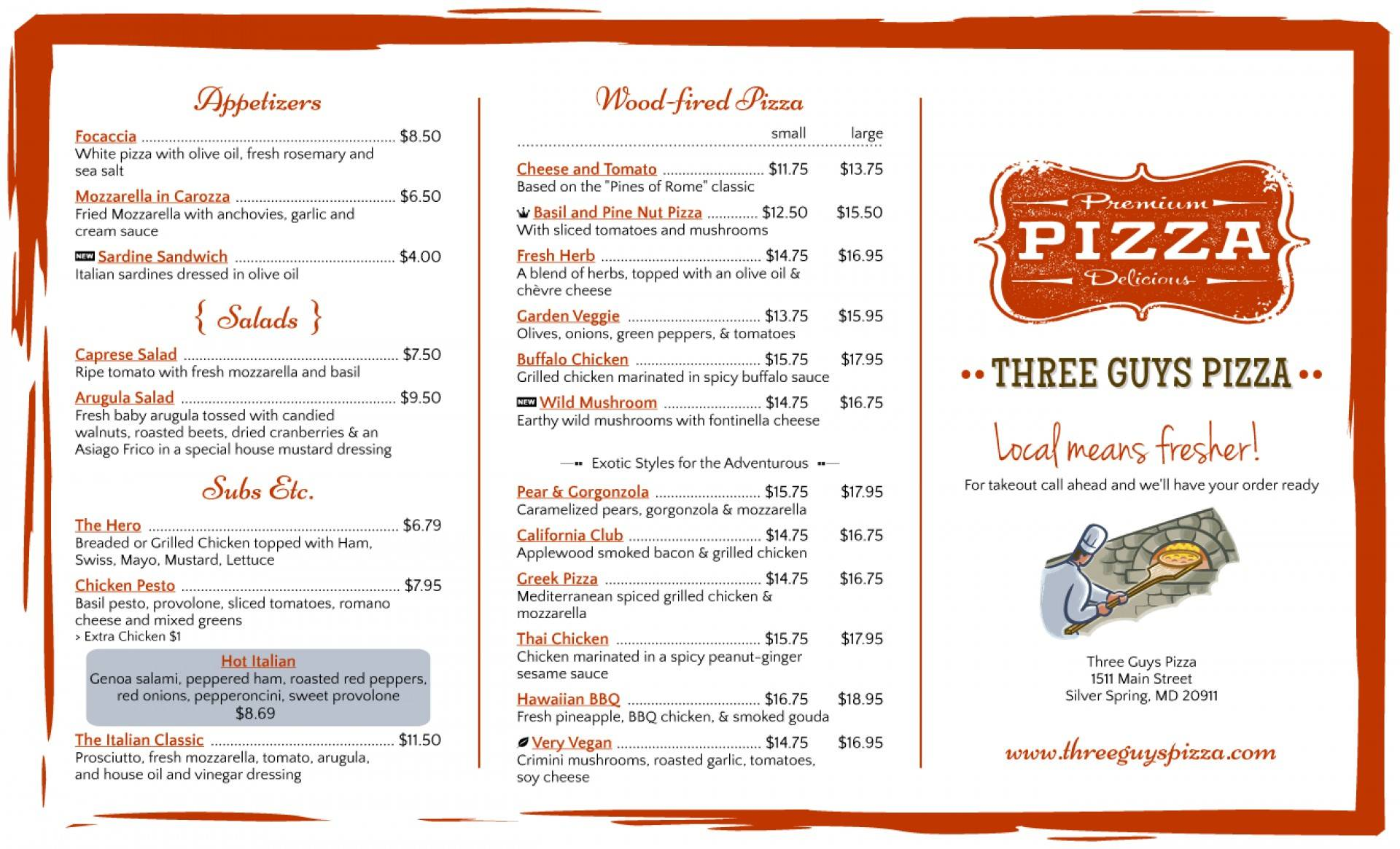 Tri Fold Pizza Menu Template
