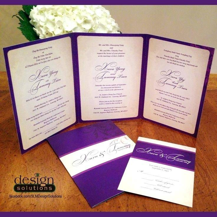 Tri Fold Wedding Invitations With Tear Off Rsvp Template