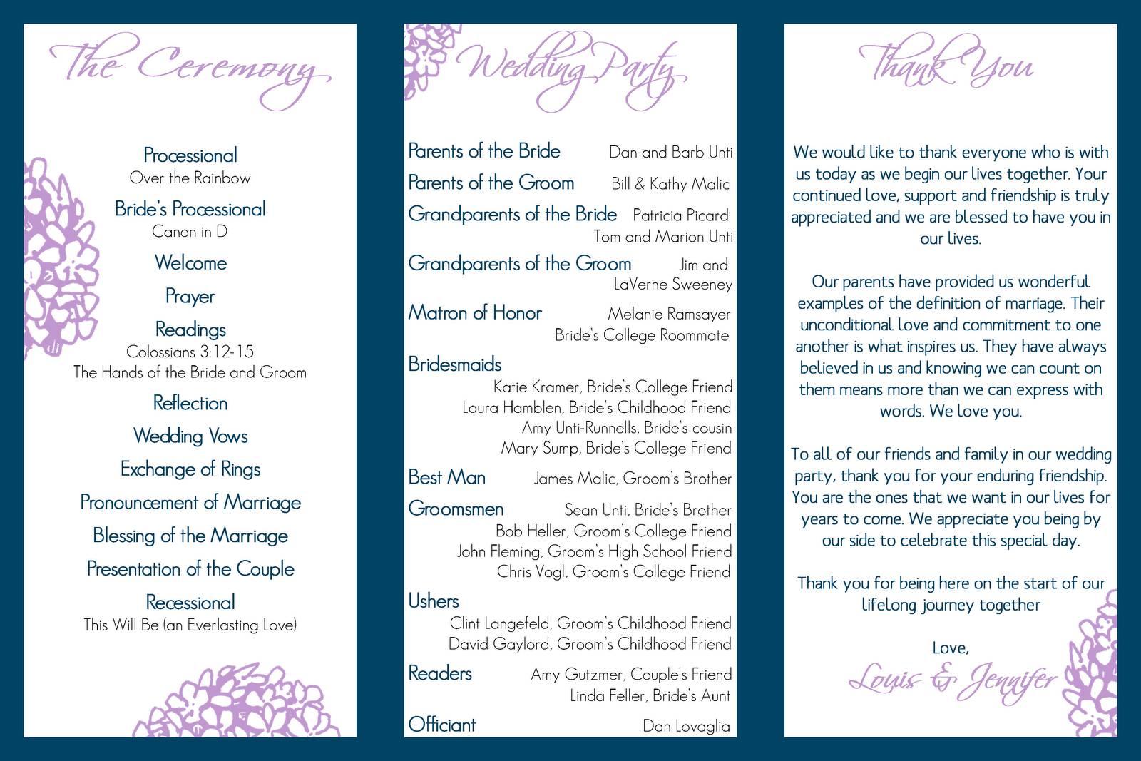 Tri Fold Wedding Program Template