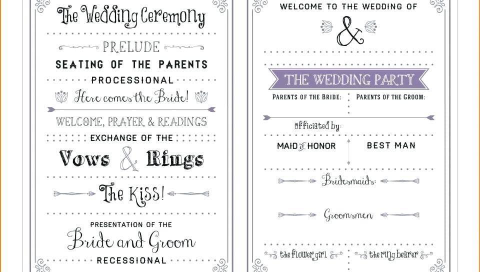 Tri Fold Wedding Program Wording Samples
