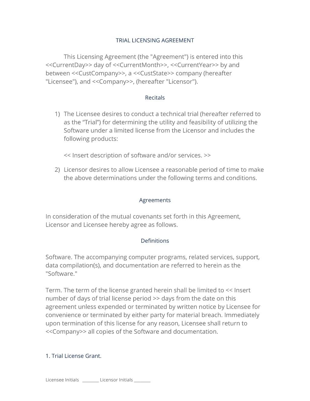 Trial Software License Agreement Template