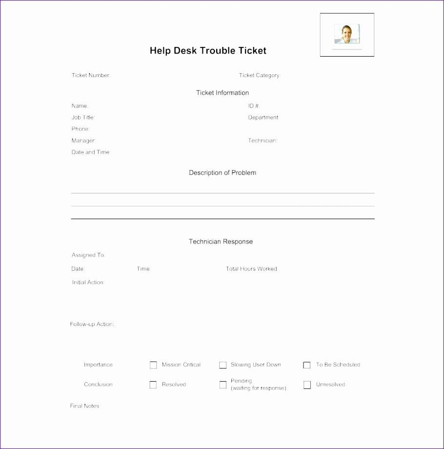 Trouble Ticket Template Word