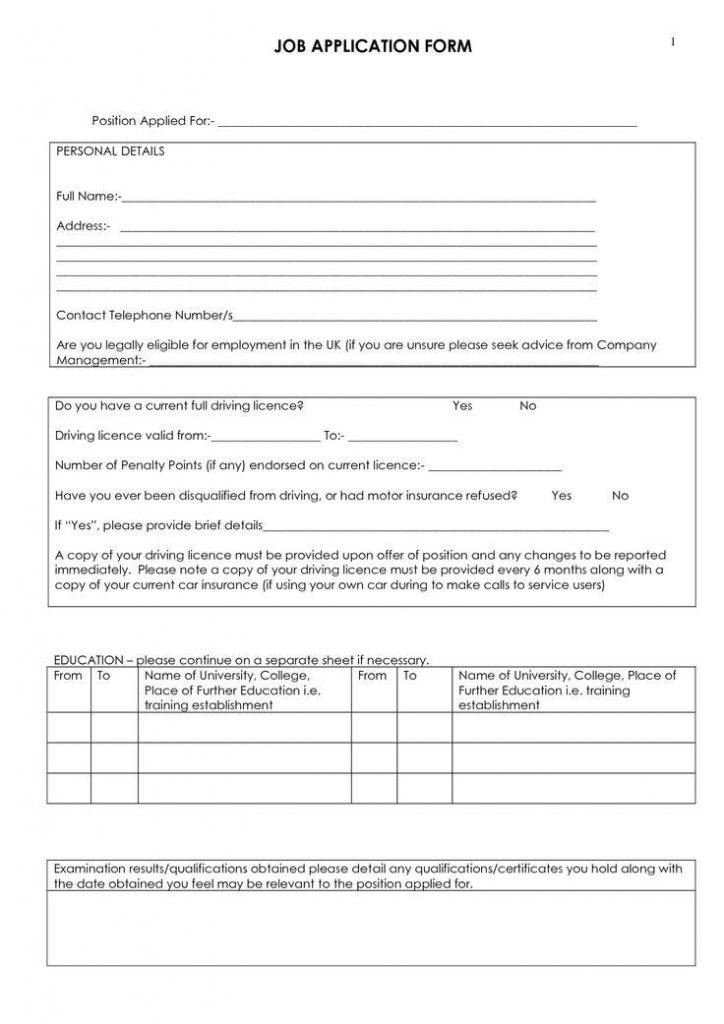 Truck Driver Application Form Template
