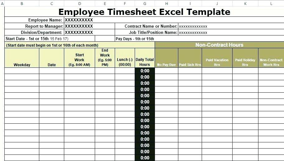 Uk Contractor Timesheet Template