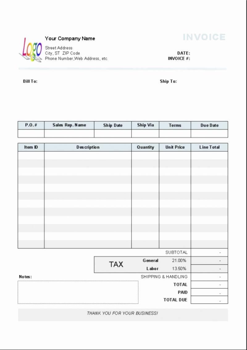 Uk Vat Invoice Template Excel