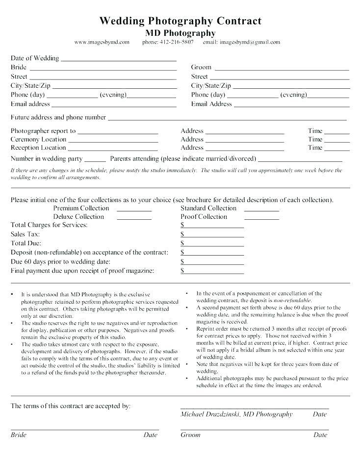 Uk Wedding Photography Contract Templates
