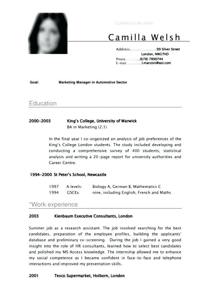 Undergraduate Resume Template Word