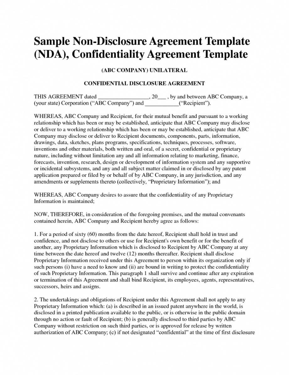 Unilateral Non Disclosure Agreement Template
