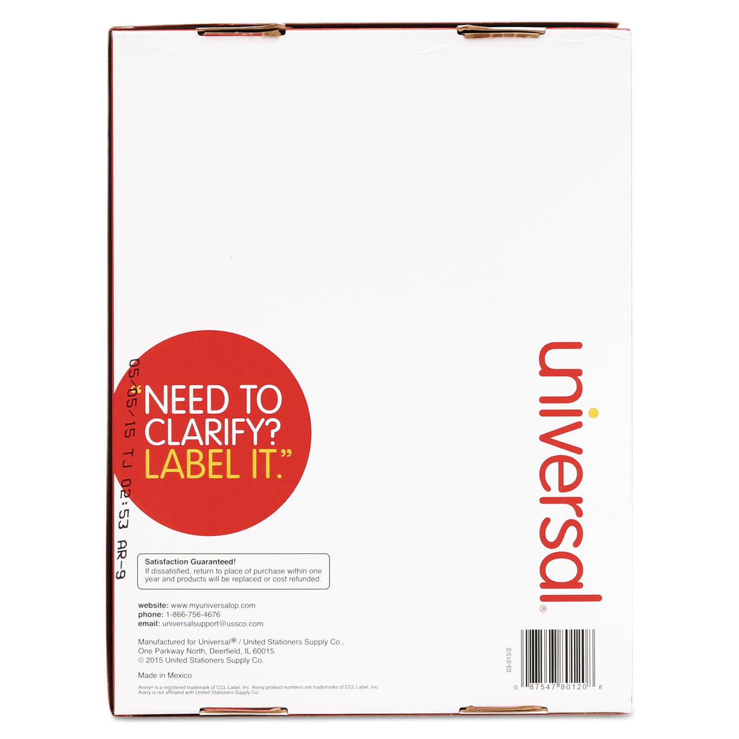 Universal Laser Printer Labels 80120 Template