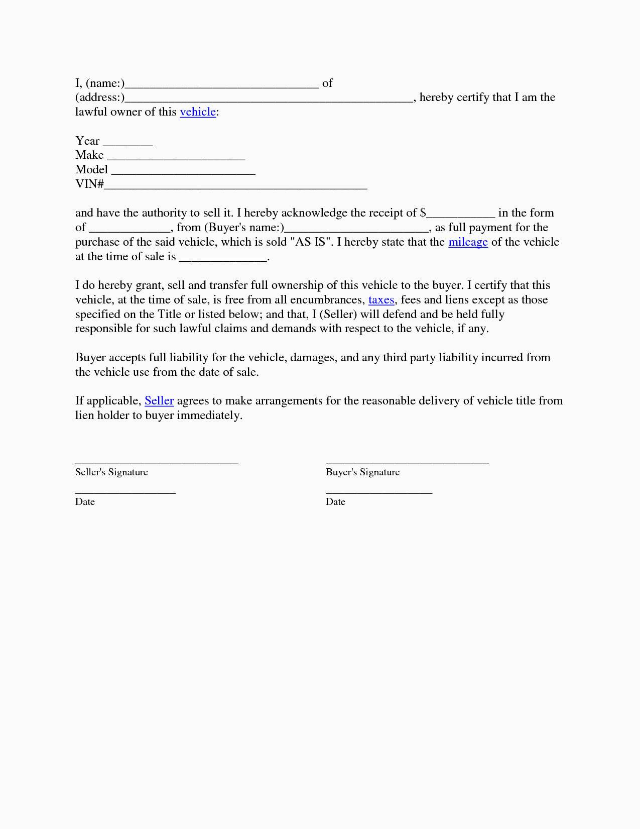 Used Car Contract Template