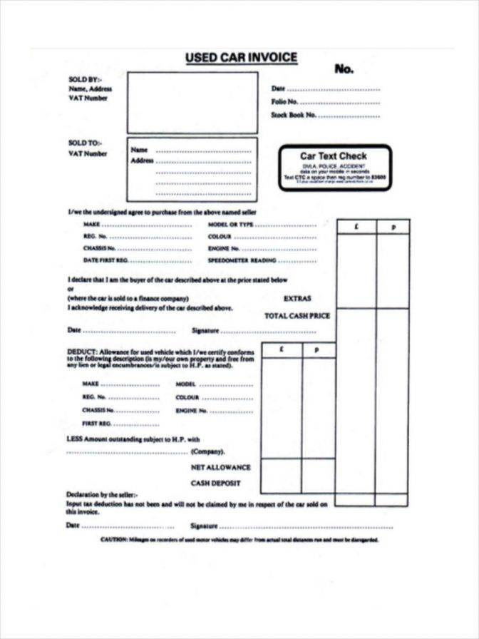 Used Car Dealer Invoice Template