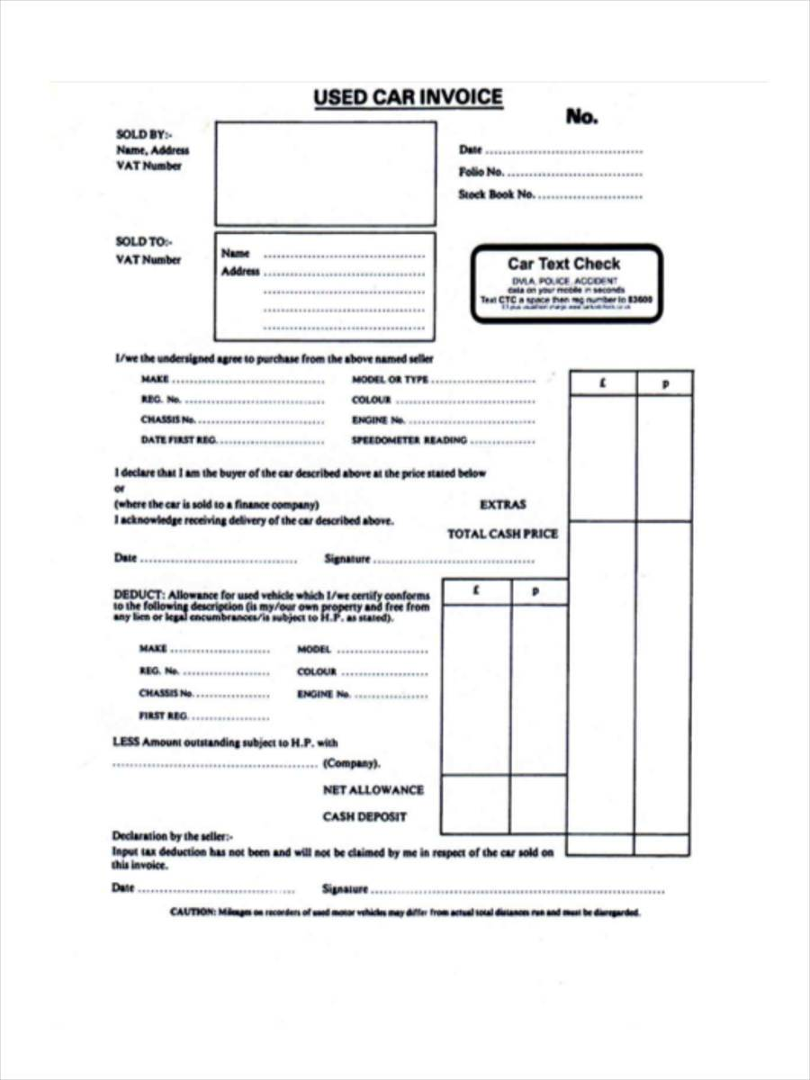 Used Car Invoice Format