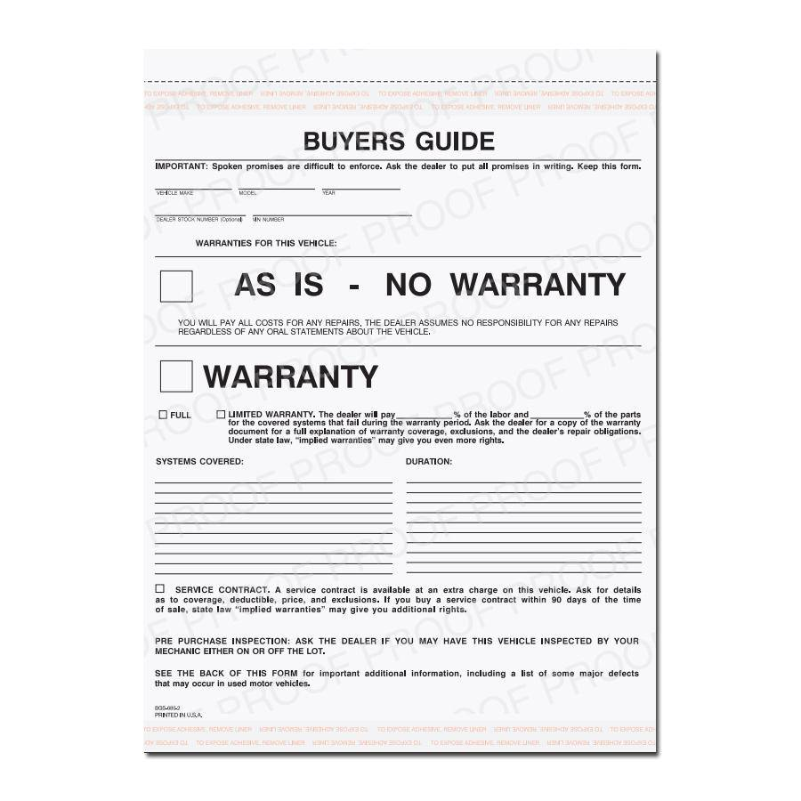 Used Car No Warranty Form