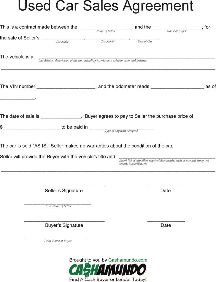 Used Car Purchase Agreement Template