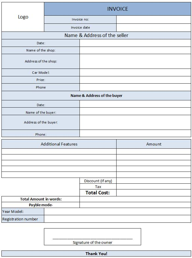 Used Car Sales Invoice Template Free