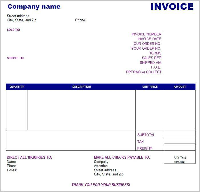 Used Car Sales Invoices Template