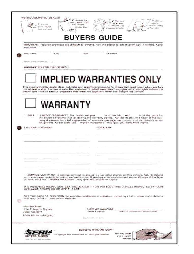 Used Car Warranty Document