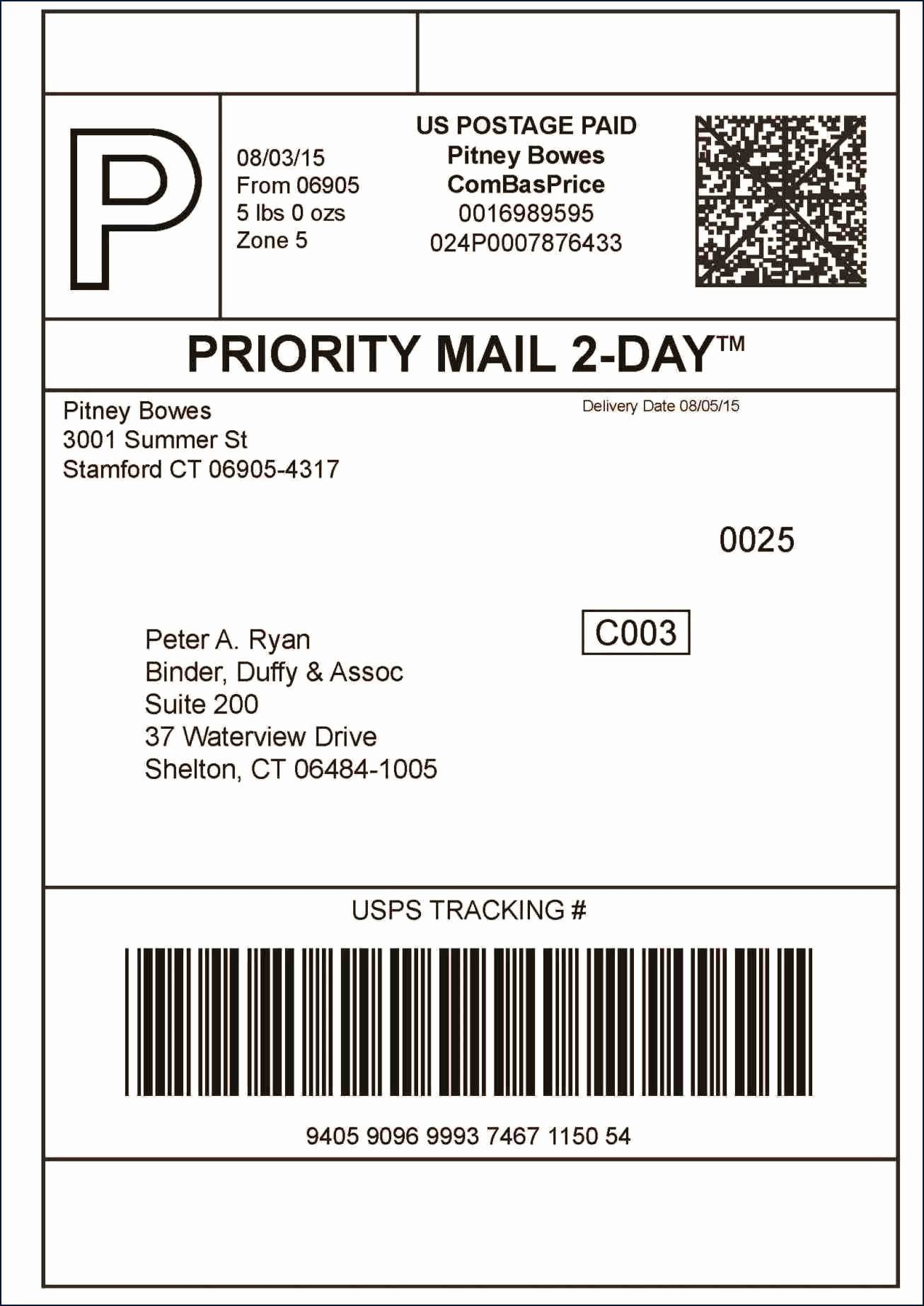 Usps Priority Mail Label Template 228