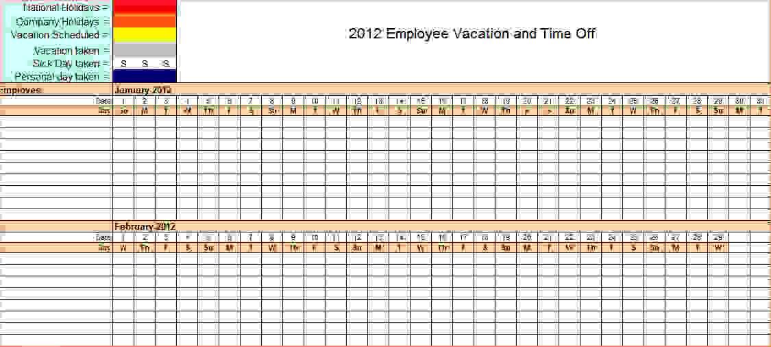 Vacation Calendar Template Word
