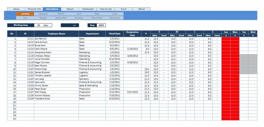 Vacation Excel Template 2018