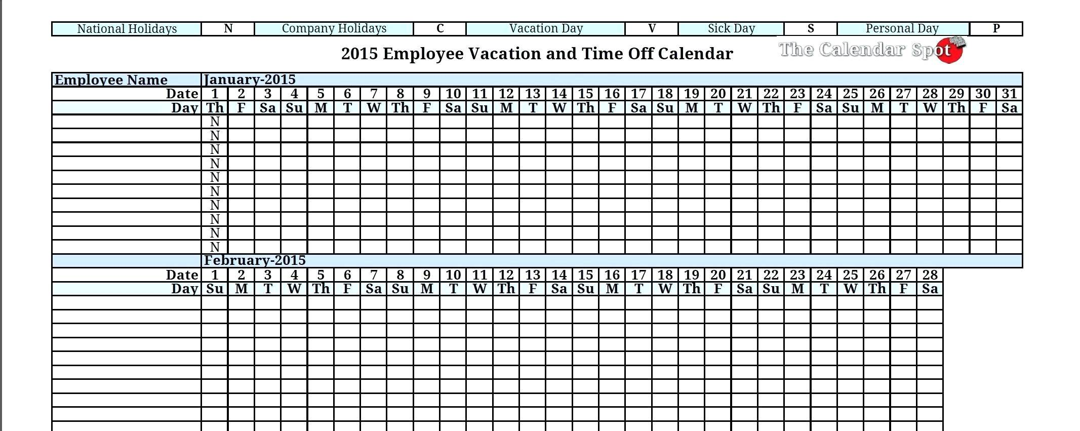 Vacation Excel Template Free