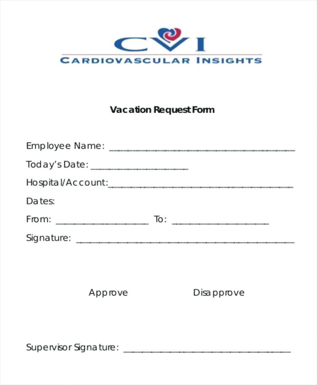 Vacation Form Template Excel