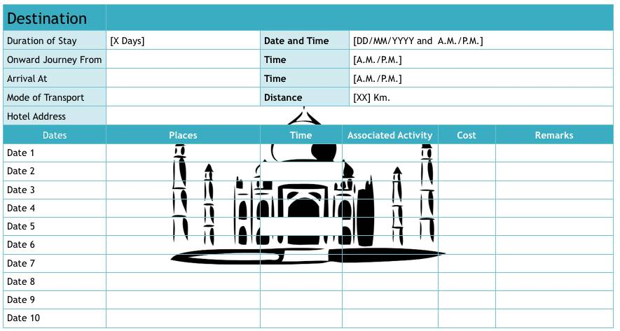 Vacation Itinerary Template Excel