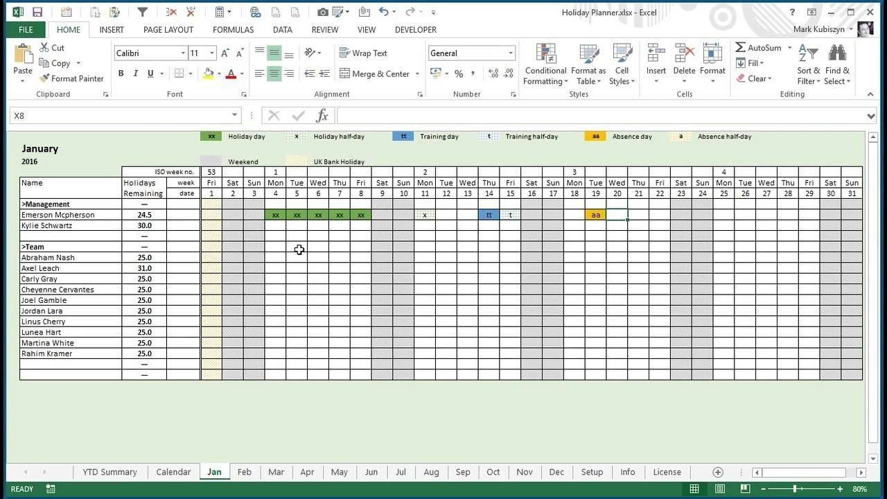 Vacation Plan Template Excel