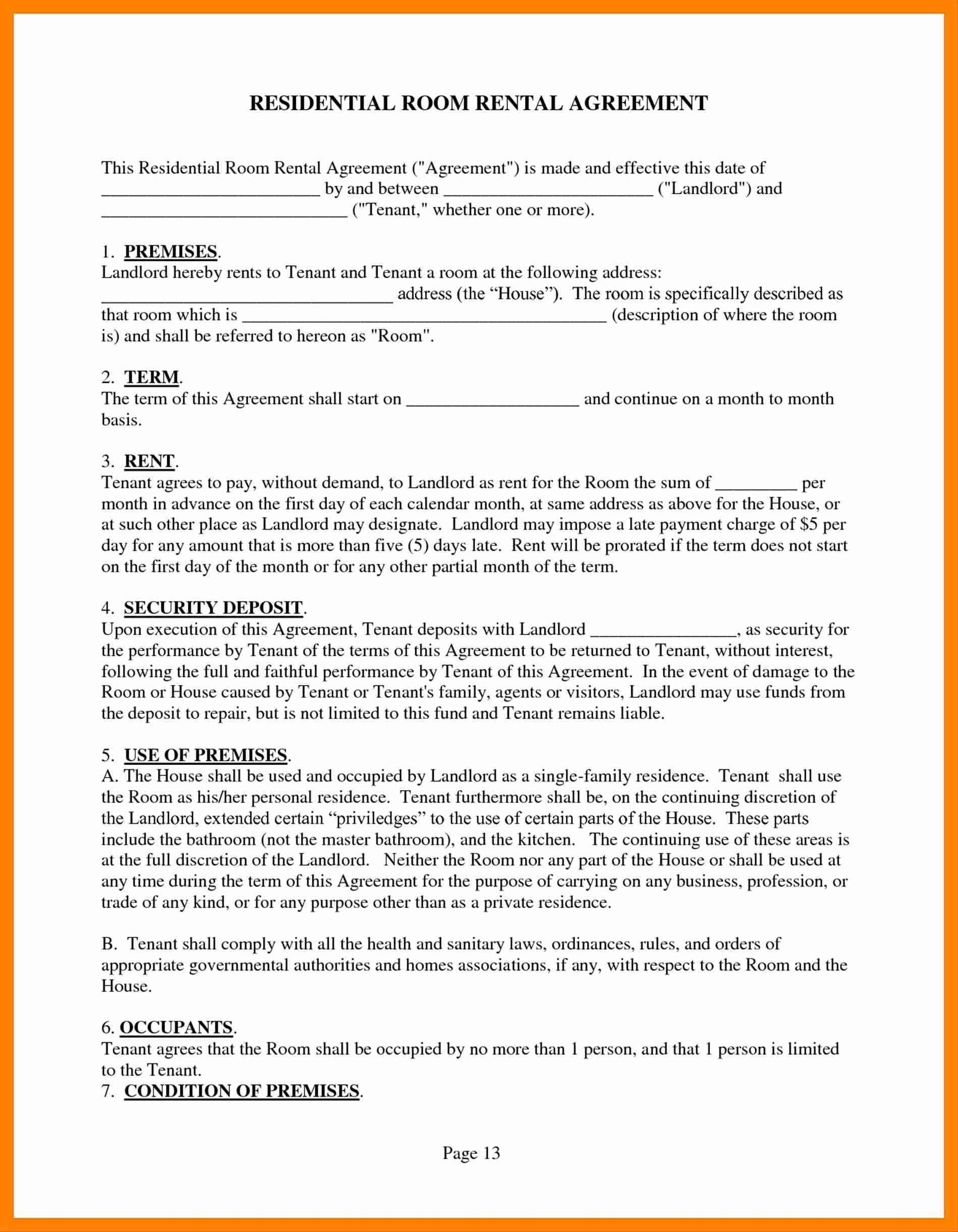 Vacation Property Rental Agreement Template