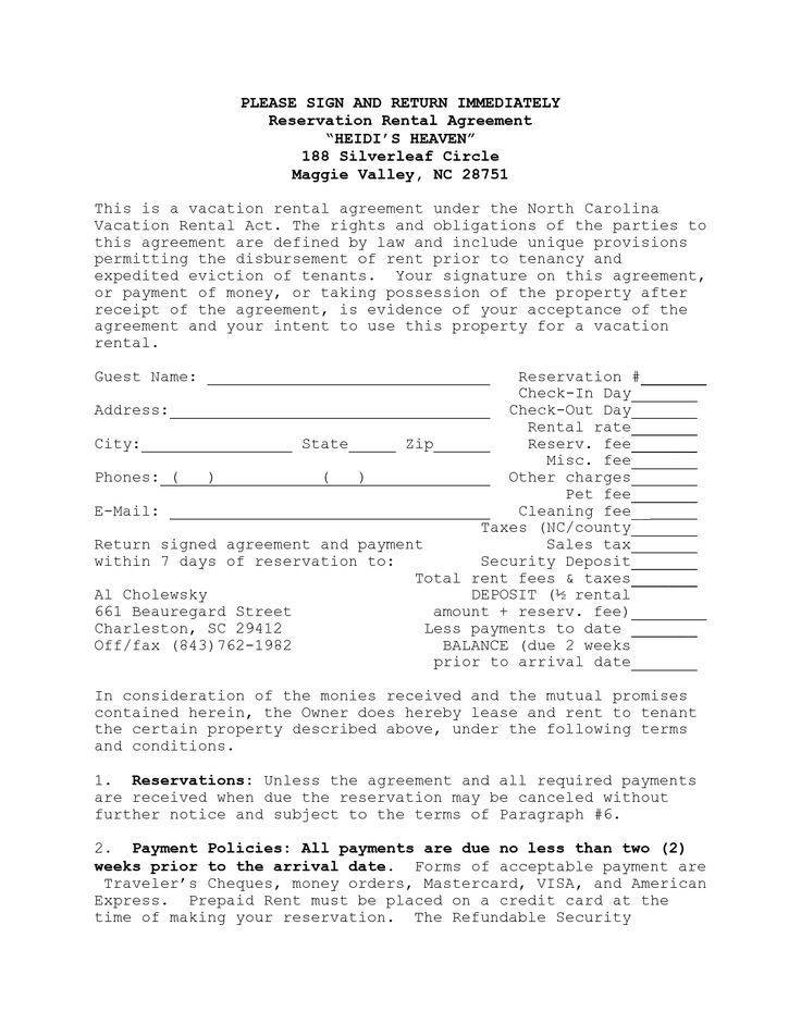 Vacation Rental Contracts Templates