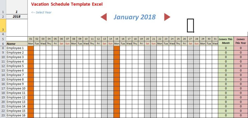 Vacation Schedule Excel Template