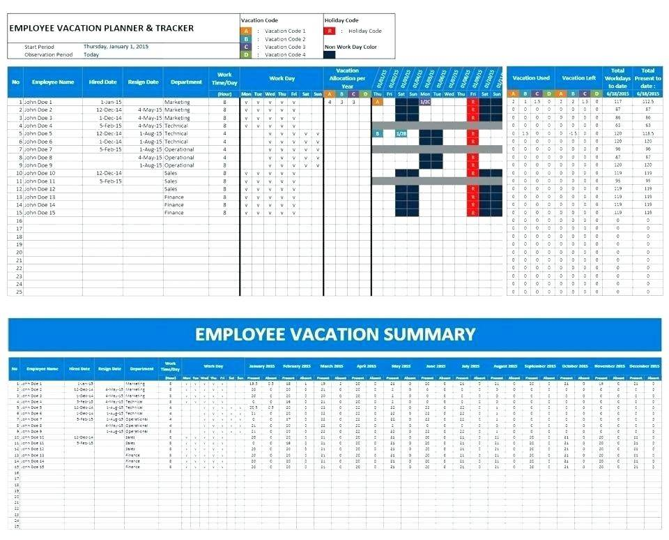 Vacation Schedule Template 2017