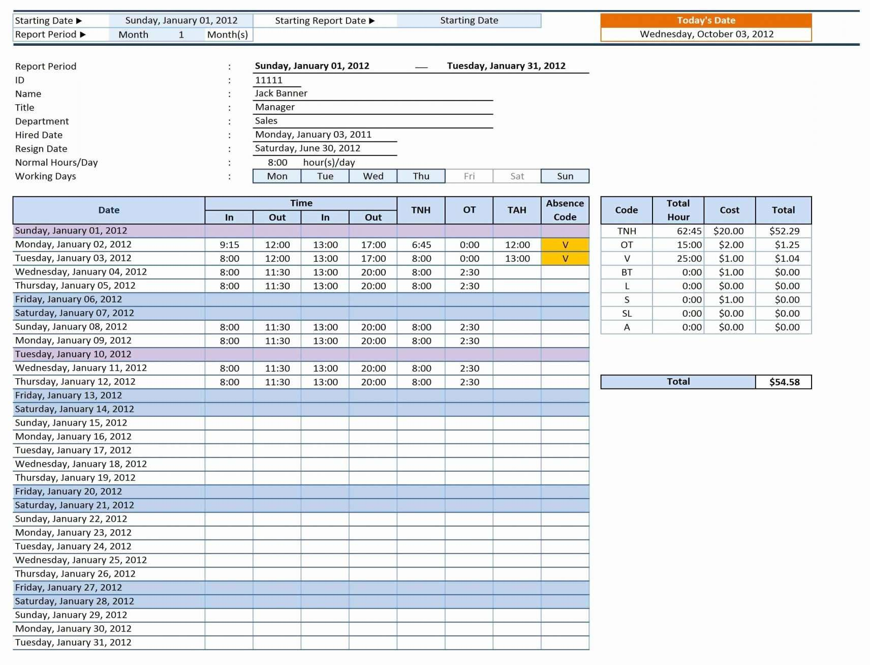 Vacation Tracking Spreadsheet Template